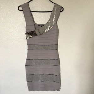 Gray and silver bandage bodycon dress